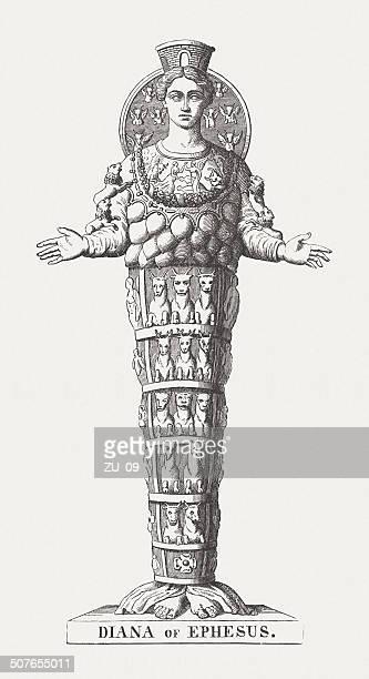 bildbanksillustrationer, clip art samt tecknat material och ikoner med diana of ephesus, ancient sculpture, wood engraving, published in 1878 - grekisk gudinna