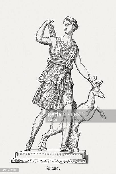 diana of versailles, published in 1878 - figurine stock illustrations, clip art, cartoons, & icons