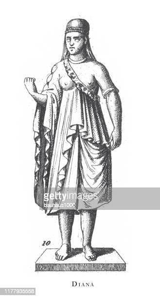 ilustraciones, imágenes clip art, dibujos animados e iconos de stock de diana, ritos religiosos y figuras de la antigua grecia y roma grabado ilustración antigua, publicado 1851 - roman goddess