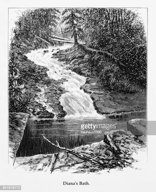 Diana's Bath, Delaware River Water Gap, Pennsylvania, United States, American Victorian Engraving, 1872