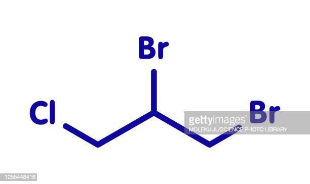 dibromochloropropane soil fumigant molecule, illustration - chemistry stock illustrations