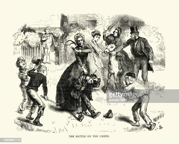 dickens, david copperfield, the battle of the green - slapping stock illustrations, clip art, cartoons, & icons