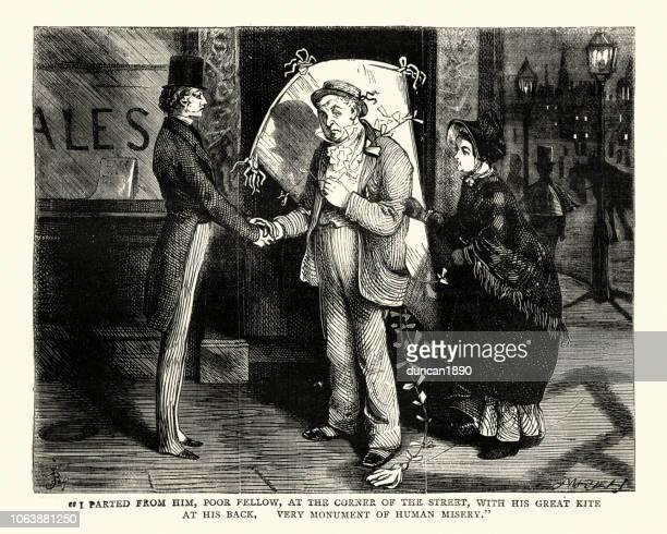 stockillustraties, clipart, cartoons en iconen met dickens, david copperfield, met zijn grote vlieger op zijn rug - oudere mannen