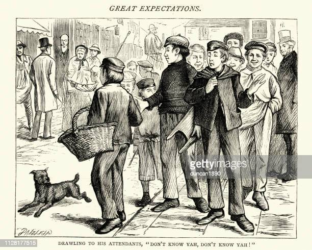 dickens, great expectations, drawling to his attendants - teasing stock illustrations, clip art, cartoons, & icons