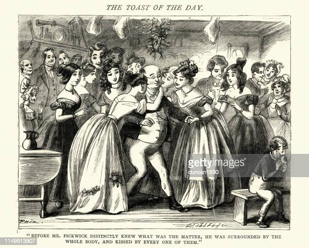 dickens, pickwick papers, kissed by every one of them - mistletoe stock illustrations