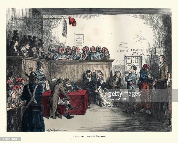 dickens, tale of two cities, the trial of evremonde - unfairness stock illustrations