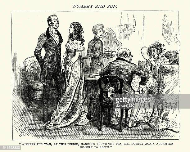 dickens's dombey and son handing round the tea - afternoon tea stock illustrations, clip art, cartoons, & icons