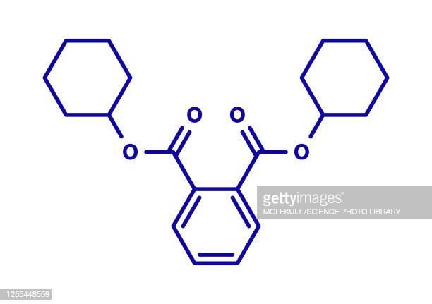dicyclohexyl phthalate plasticizer molecule, illustration - chemistry stock illustrations