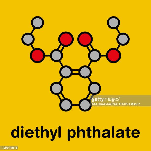 diethyl phthalate plasticizer molecule, illustration - eczema stock illustrations