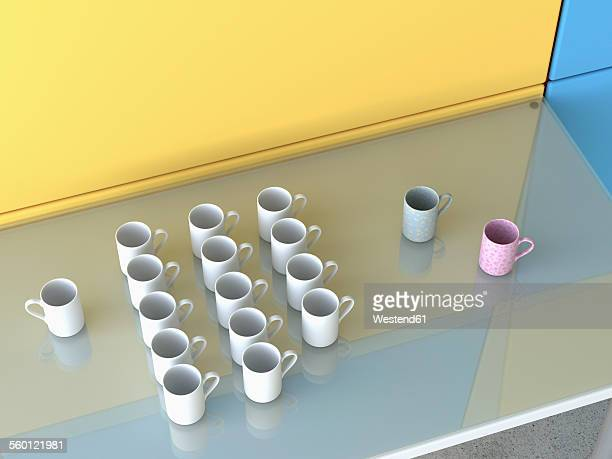 different coffee cups on glass table, 3d rendering - meeting stock illustrations