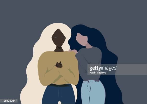 different ethnicity girl friends long hair helping each other when one of them is crying on a grey  blue background - grief stock illustrations