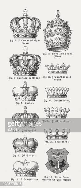 illustrazioni stock, clip art, cartoni animati e icone di tendenza di different forms of crowns, wood engravings, published in 1897 - corona reale