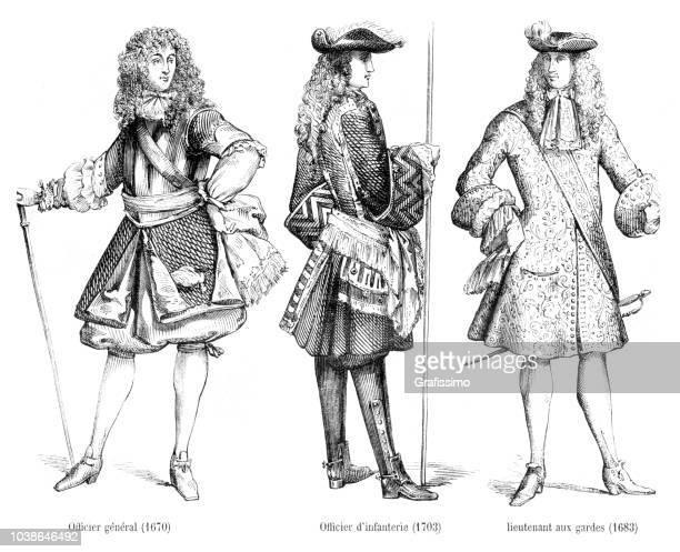 different officer uniforms in 17th century with description in french - louis xiv of france stock illustrations, clip art, cartoons, & icons