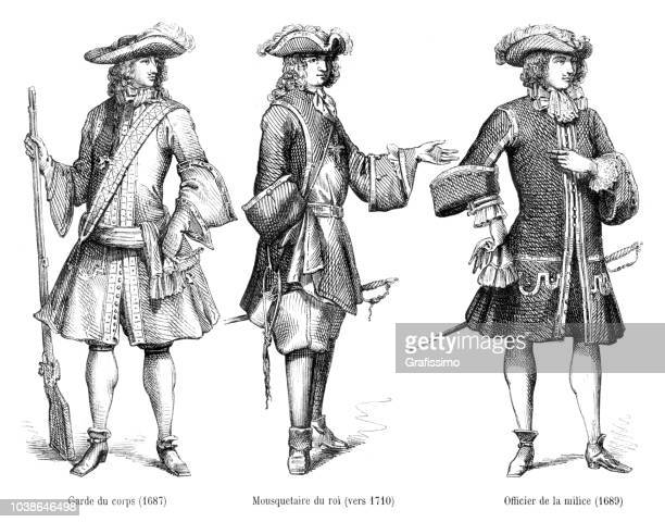 Different officer uniforms in 17th century with description in french