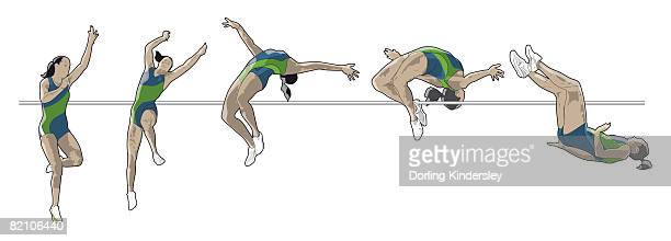 ilustraciones, imágenes clip art, dibujos animados e iconos de stock de different stages of athelete performing fosbury flop - salto de altura
