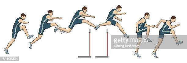 different stages of athlete jumping over hurdles - multiple image stock illustrations, clip art, cartoons, & icons