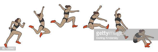 different stages of athlete performing hitch-kick long jump - long jump stock illustrations