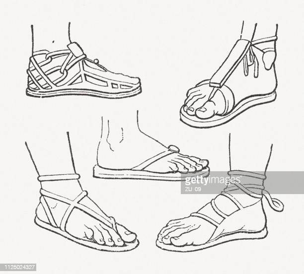 different types of antique sandals, wood engravings, published in 1897 - sandal stock illustrations, clip art, cartoons, & icons