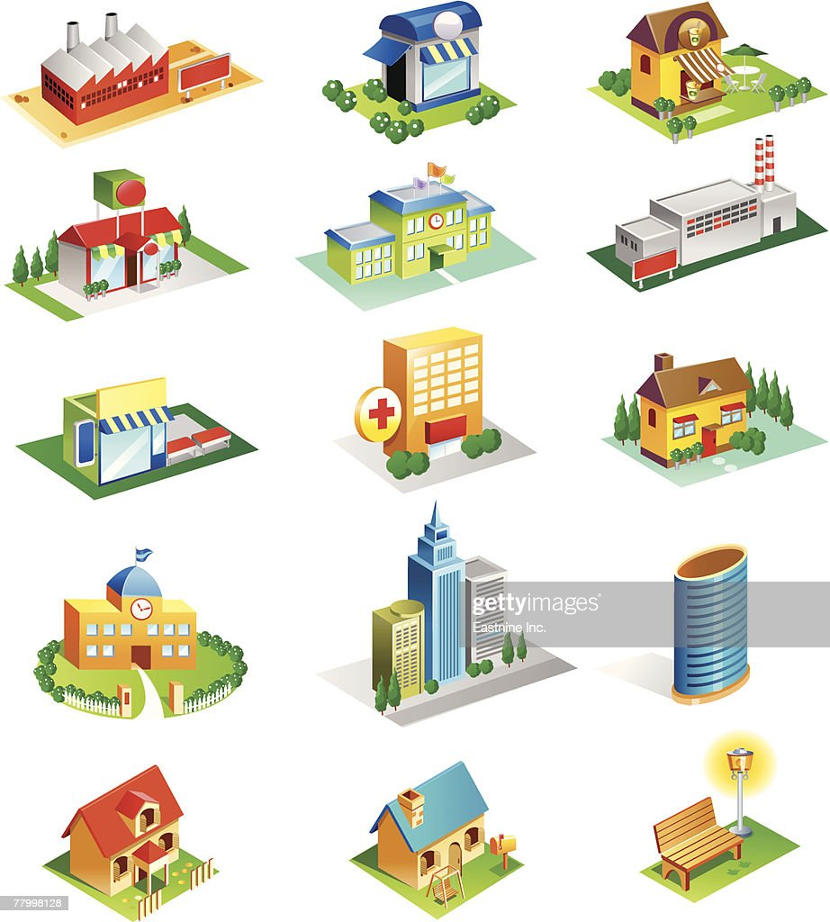 Different Types Of Buildings : Different types of building structures vector art getty