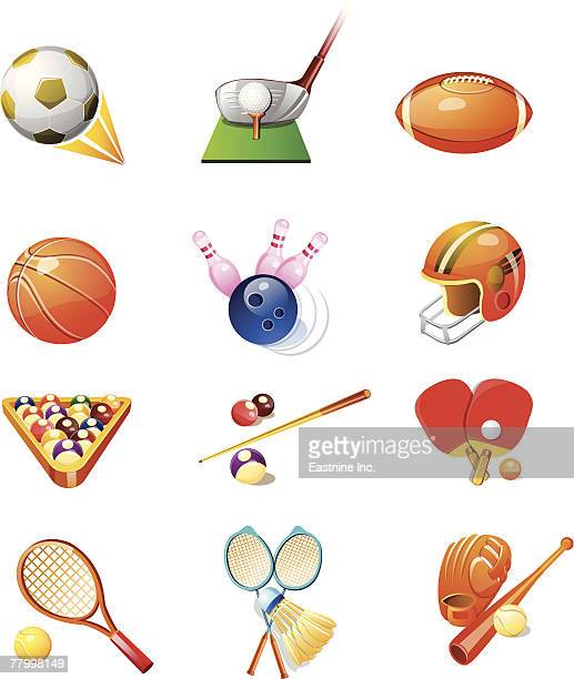 ilustraciones, imágenes clip art, dibujos animados e iconos de stock de different types of sports favors - guantes de portero