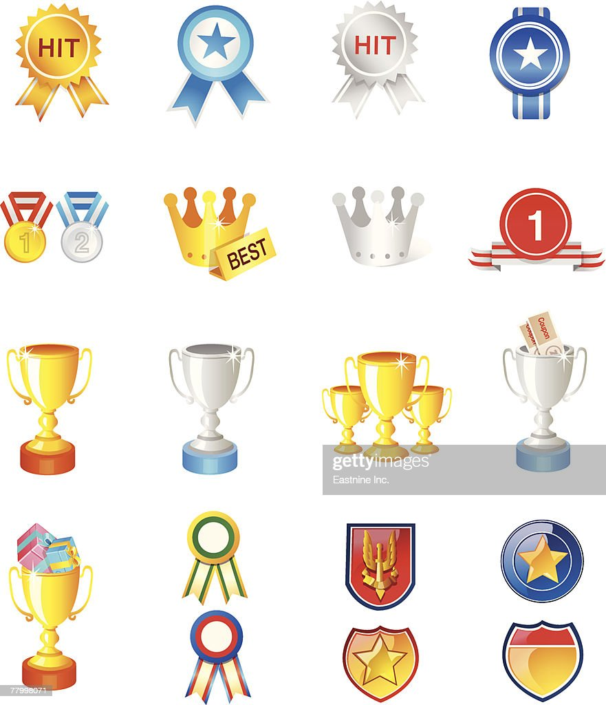 Different Types Of Trophies And Medals stock illustration