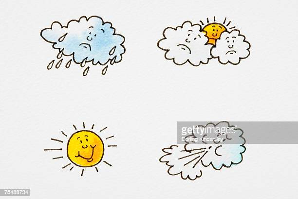 Different weather conditions, raining cloud with sad face, sun with smiley face emerging from behind two sad-faced clouds, smiley-faced sun, cloud blowing wind out of its mouth, cartoon