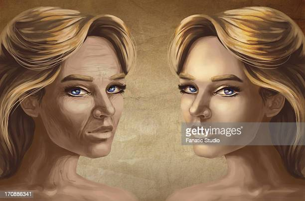 Differential female faces depicting after effects cosmetic surgery