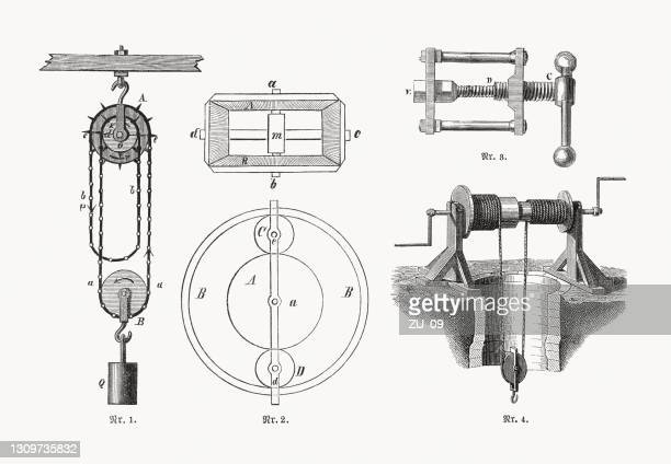 differential mechanisms, wood engravings, published in 1893 - hoisting stock illustrations