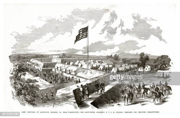 digging trenches and erecting breastworks at camp corcoran on arlington heights, virginia civil war engraving - us military stock illustrations, clip art, cartoons, & icons
