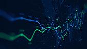 Digital analytics data visualization, financial schedule, monitor screen in perspective