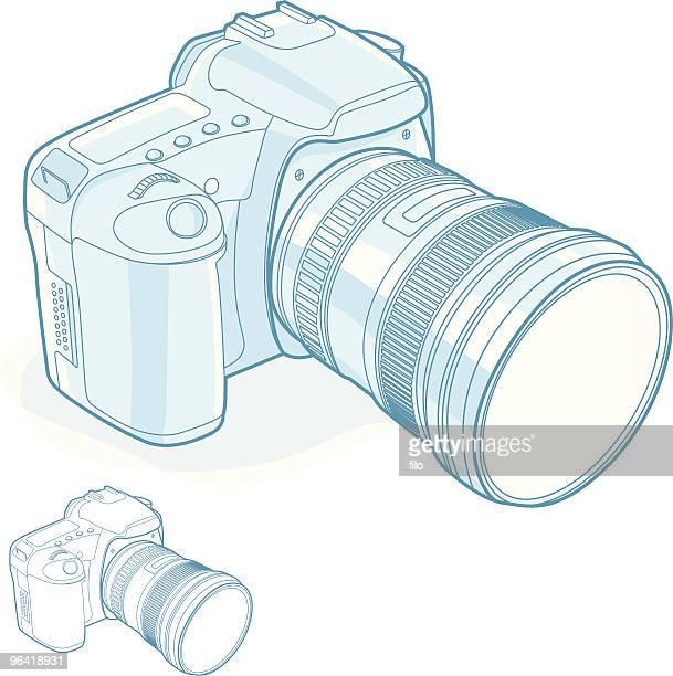 ilustraciones, imágenes clip art, dibujos animados e iconos de stock de cámara digital - camara reflex