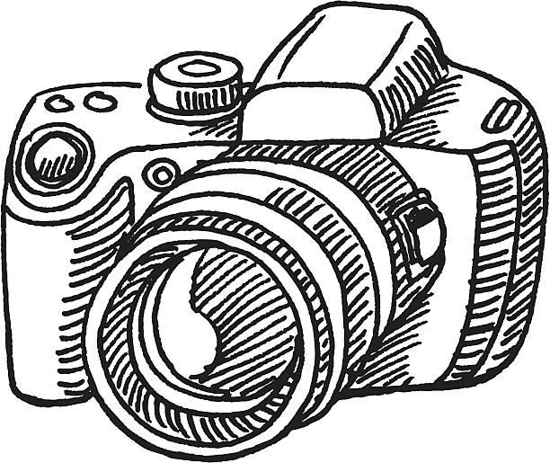 デジタルカメラのスケッチ - 一眼レフカメラ点のイラスト素材/クリップアート素材/マンガ素材/アイコン素材