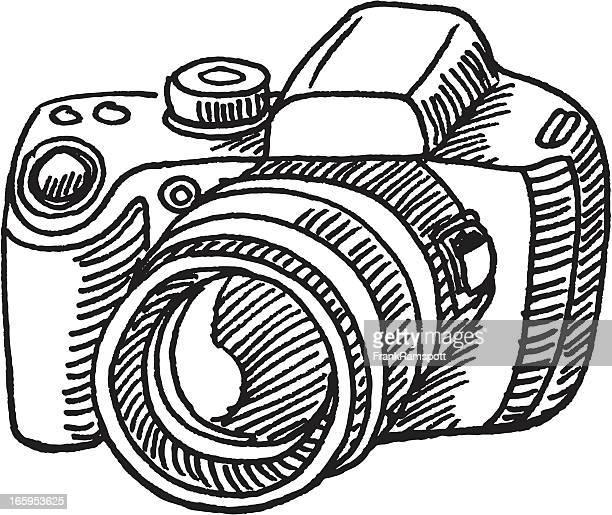 ilustraciones, imágenes clip art, dibujos animados e iconos de stock de cámara digital boceto - camara reflex