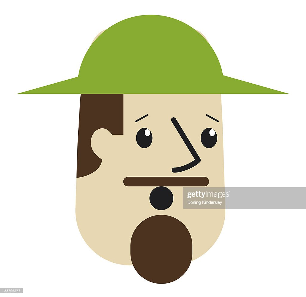 Digital Cartoon Of Man With Moustache And Goatee Raised Eyebrows And