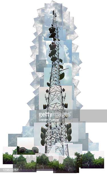 digital collage of a radio tower w/ a blue filter - communications tower stock illustrations