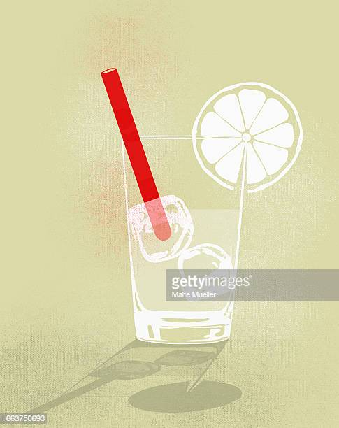 Digital composite image of cold drink against yellow background