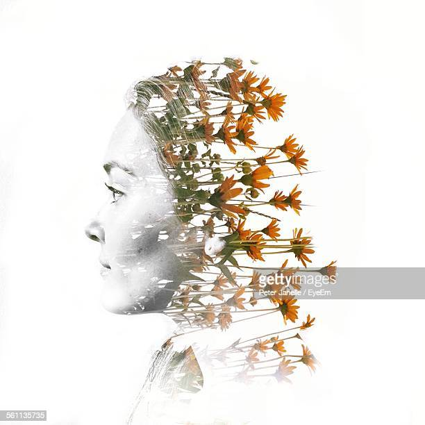 digital composite of woman head with flowers - growth stock illustrations