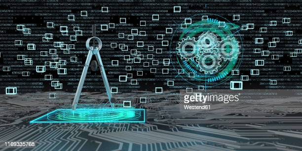 digital engineering, compasses on a board with blocks and gears as hologram, 3d illustration - instrument of measurement stock illustrations