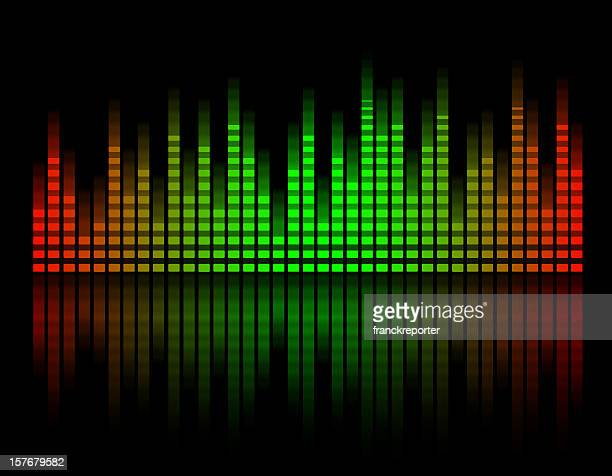 digital equalizer bar graph , green ad red color - amplifier stock illustrations, clip art, cartoons, & icons