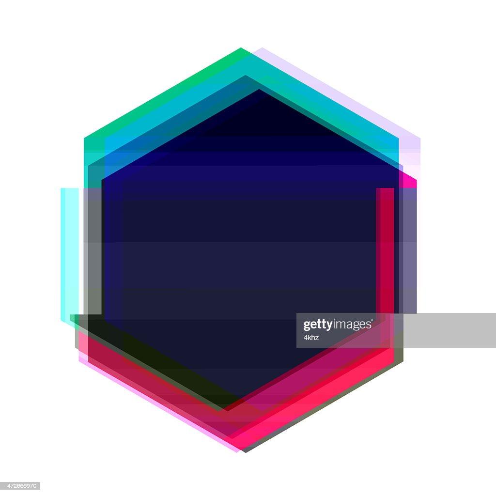 Digital Glitch Red Blue Hexagon Frame Graphic Art Distorted ...