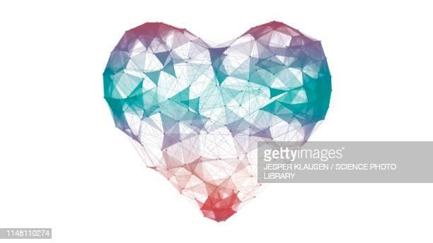 digital heart shape, illustration - triangle shape stock illustrations