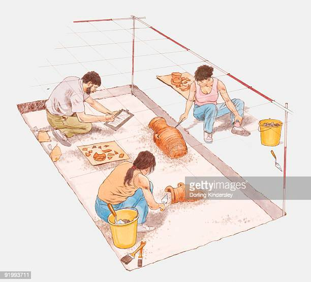 digital illustration of archaeologists digging for pottery at ancient site - archaeology stock illustrations