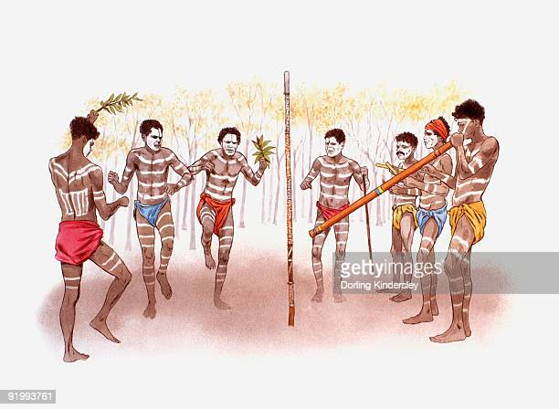 Digital illustration of Australian Aborgine men dancing, singing, and playing the didgeridoo