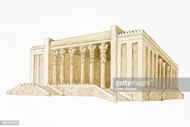 digital illustration of ceremonial building at persepolis, 500 bc - architectural feature stock illustrations, clip art, cartoons, & icons