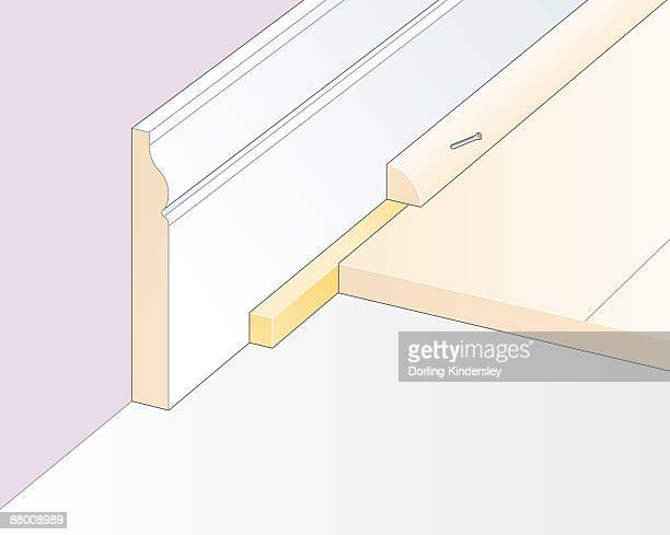 digital illustration of cork expansion strip, and quadrant moulding nailed to skirting board - floorboard stock illustrations, clip art, cartoons, & icons