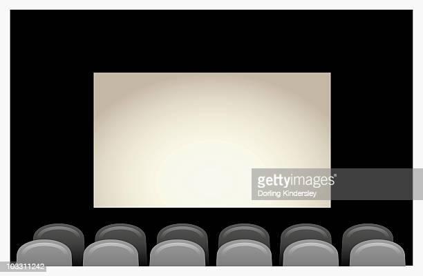 digital illustration of empty seats and blank screen inside cinema - blank screen stock illustrations, clip art, cartoons, & icons