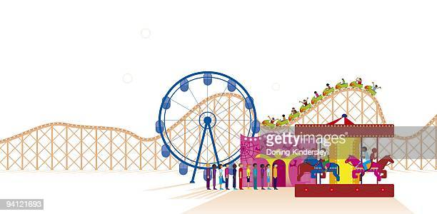 Digital illustration of fairground attractions at amusement park