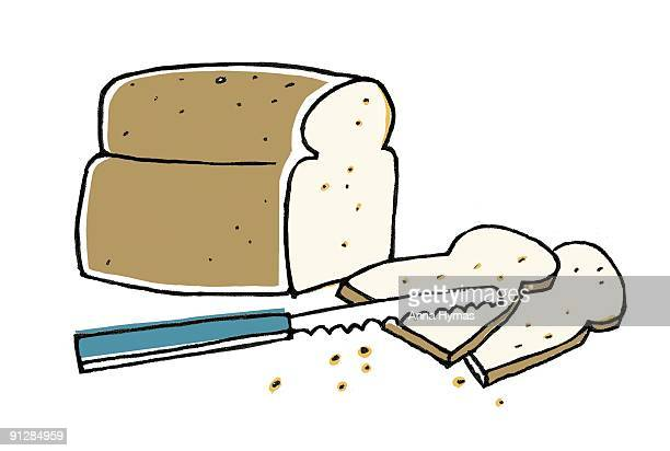 Digital illustration of fresh whole wheat loaf, two slices of bread and bread knife