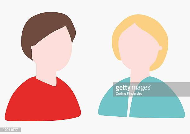 digital illustration of head and shoulders of two people without faces - obscured face stock illustrations, clip art, cartoons, & icons