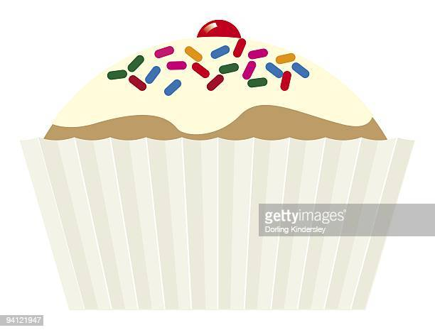 digital illustration of iced cupcake with hundreds and thousands and cherry on top - dessert topping stock illustrations, clip art, cartoons, & icons